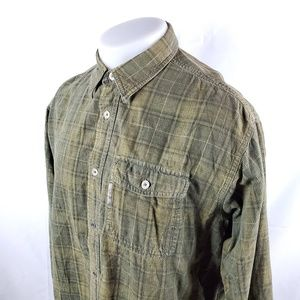 Columbia Mens Button Front Shirt Sz Large Green